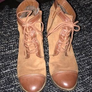 Brown Giani Bernini laceup booties